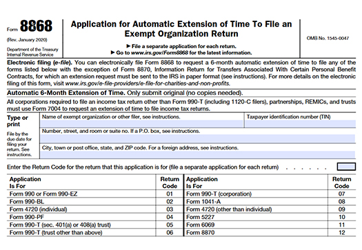 Form 8868 Extension